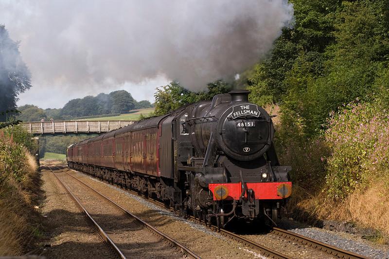 48151 heads past Pleasington with the regular Wenesday Fellsman to Carlisle . 17/8/11
