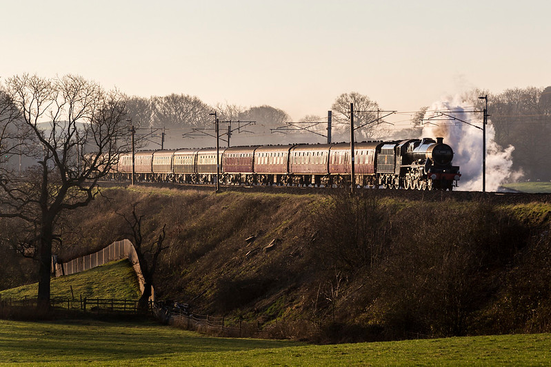 45690, Leander, heads for Carlisle from Manchester at Bay Horse on the WCML - 21 January 2017