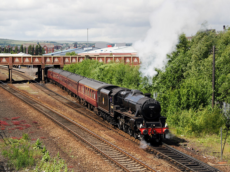 Black 5, 45407 leaving Bolton with the Cotton Mill Express 14/6/08