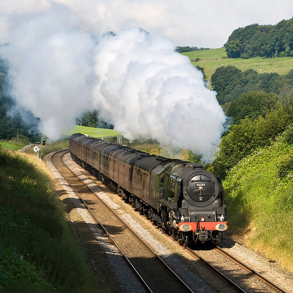 46233 climbs from Hoghton bottoms up to Pleasington on the Preston-Blackburn line - 21/07/12