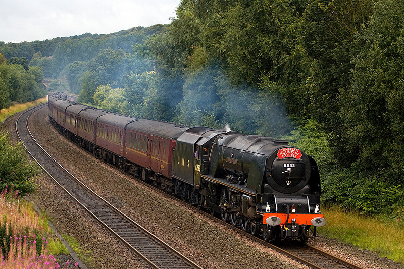 6223 Duchess of Sutherland returning to Manchester from Carlisle at Ladybridge 28/08/10