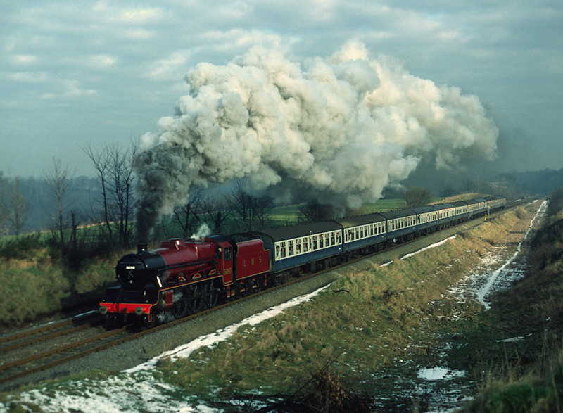 5690 Leander on Gresford Bank with a Welsh marches Express  26/01/84