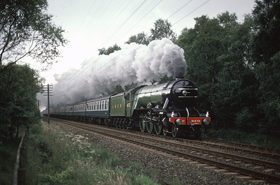 4472 Flying Scotsman passing Strensall Common with York Scarborough train 9/8/87