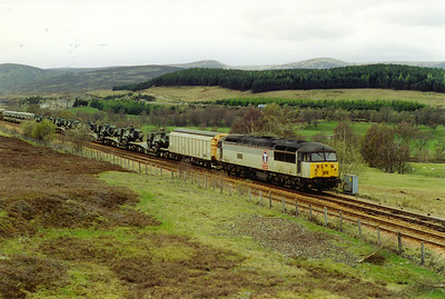 56033 clatters over the crossover at Dalanraoch as the train drops down the 1 in 70 grade towards Blair Athol.
