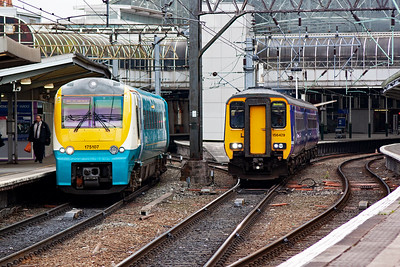 One journey ends and another one starts.  Coradia unit 175107 terminates its train from Llandudno, 1H87 144 off whilst 156429 slides out with 2H94 1352 to Buxton.