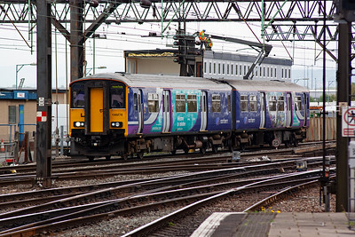 150276 looks smart in Northern Trains livery as it slows for the end of its journey with a class 2 local service 2S37 1401 from Newmills Central.