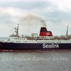 The mv St Edmund leaving Harwich Parkeston Quay for the Hook of Holland on 9th June 1978. This ship saw service in the Falklands War working as a hospital ship.