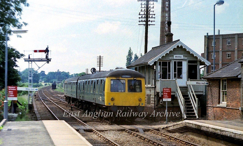 The 1340 Manningtree to Harwich arrives at Mistley on 26th June 1979.