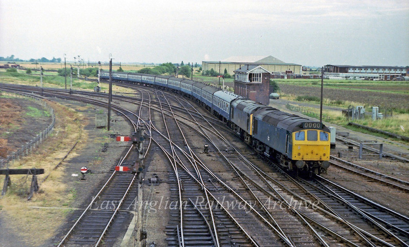 25110/25141 pass Whitemoor Junction box with the 0832 Derby to Yarmouth on 28th July 1979. Viewed from Norwood Road bridge.