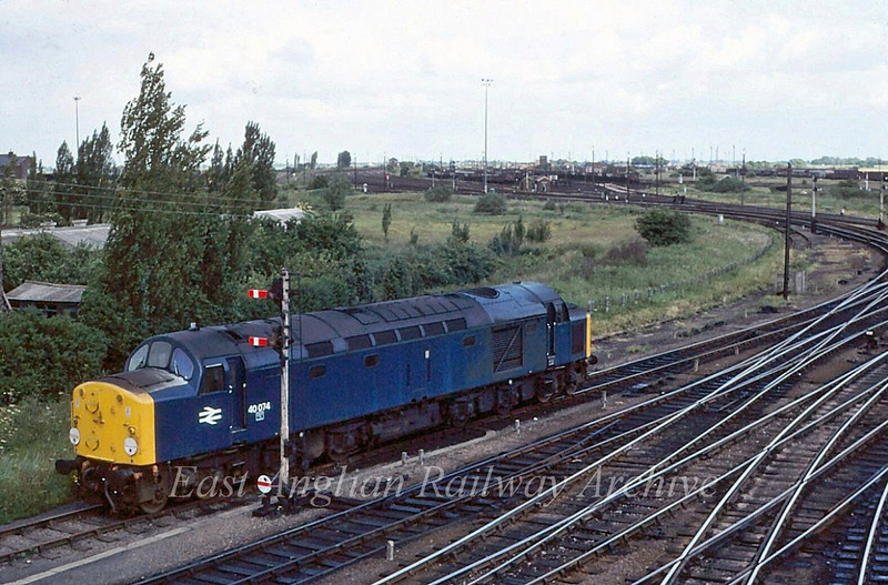 40074 on No 2 engine spur approaching Whitemoor Yard, seen in the distance.   21st June 1980