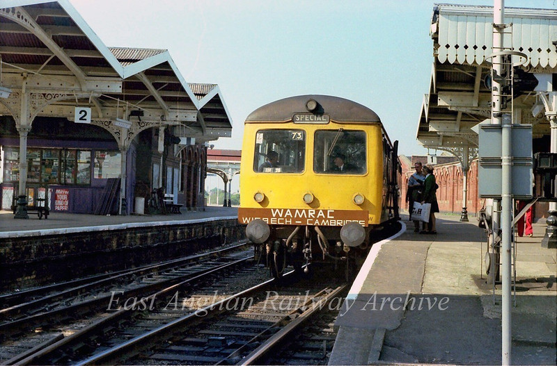 A two car Cravens unit stands in the Spalding platform at March with a special. Wisbech to Cambridge. Wisbech and March Rail Action Committee.  23rd September 1978.