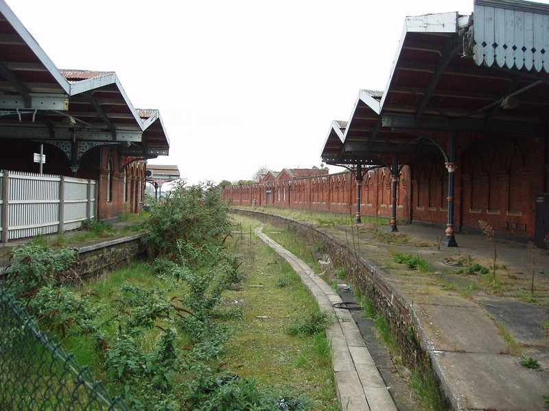 Abandoned Spalding line platforms at March.  14th April 2005. Photo with kind permission of Peter Heath.