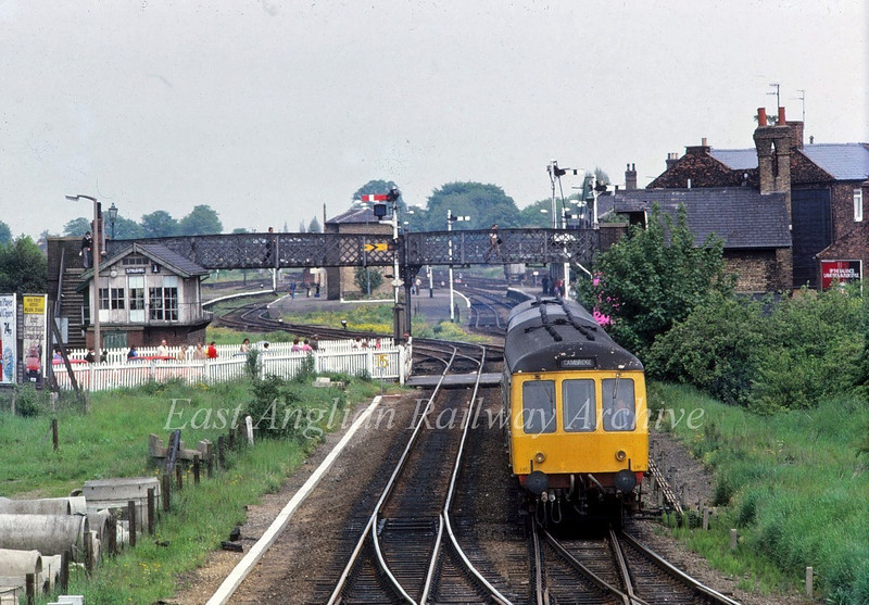The 1238 Doncaster to Cambridge is about to take the March line out of Spalding on 30th May 1981.