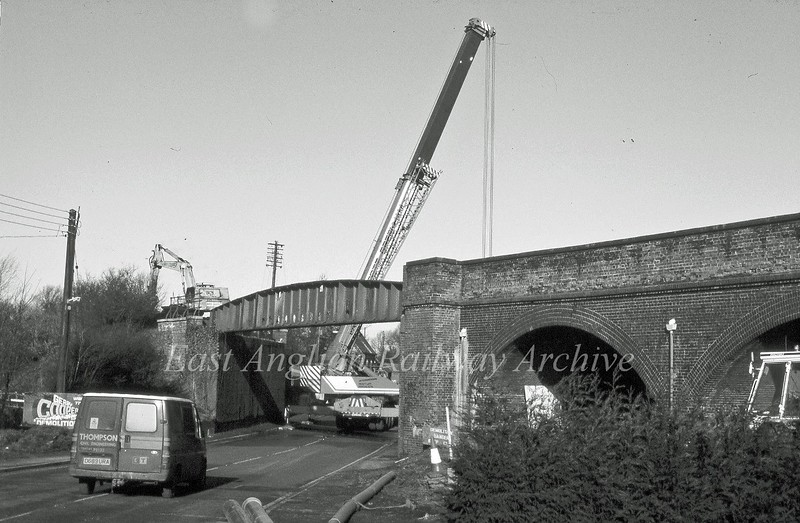 Removing the bridge over the A141 road at Rings End, Guyhirn.<br /> <br /> Image with kind permission of Mark Brammer.