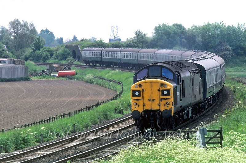An unknown 37 rounds the curve into Spalding from the March direction. The bridge abutments in the background are the former M and GN Spalding avoiding line  (Bridge number 207)  Welland Bank Junction to Cuckoo Junction.  Image dated 16th August 1980