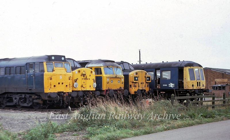 Interesting line up of motive power having a Saturday afternoon break at Hundred Road, March MPD.  From Left to right  31204, 40124, 47457, 37023 and Derby unit E51161 ready for the scrapyard.   23rd September 1979.i
