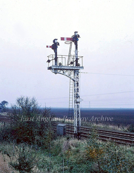 French Drove Down Goods Loop split signals.  May 1982