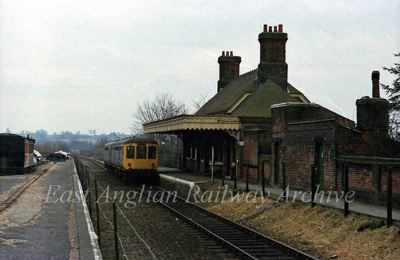 The 1134 Sudbury to Colchester stands at Chappel and Wakes Colne.  March 8th 1978.
