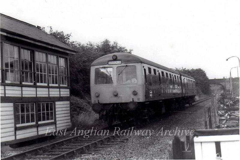 The 1557 Sudbury to Colchester arrives at Chappel and Wakes Colne.  26th July 1975