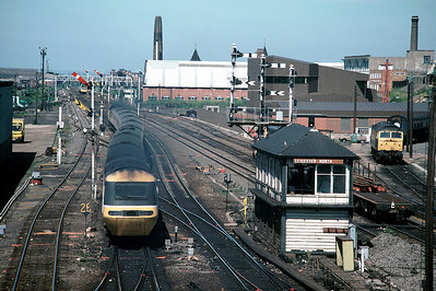Clear road ahead:  HST leaving Leicester with 14.10 St Pancras  - Sheffield,  june 1986