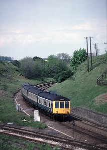 The DMU returns from Kettering to Corby at Glendon St Jct - May 1987