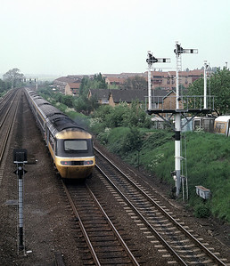 HST heading North from Kettering Junction in June 1986