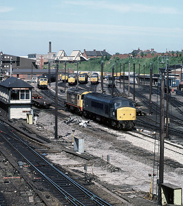 The depot north of Leicester has examples of class 20, 31, 45 and 56 in attendane June 1986