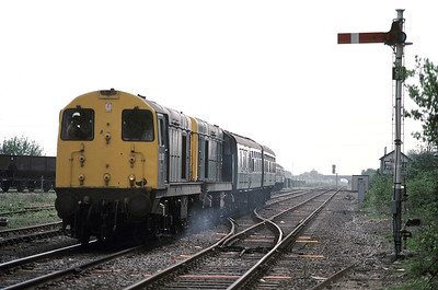 On 7 May 1988 I called at Corby to find a pair of 20087 and 20058 parked up with a train of redundnat Mk1s ....
