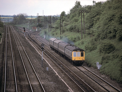 Corby to Kettering DMU at Glendon Sth Jct May 1987