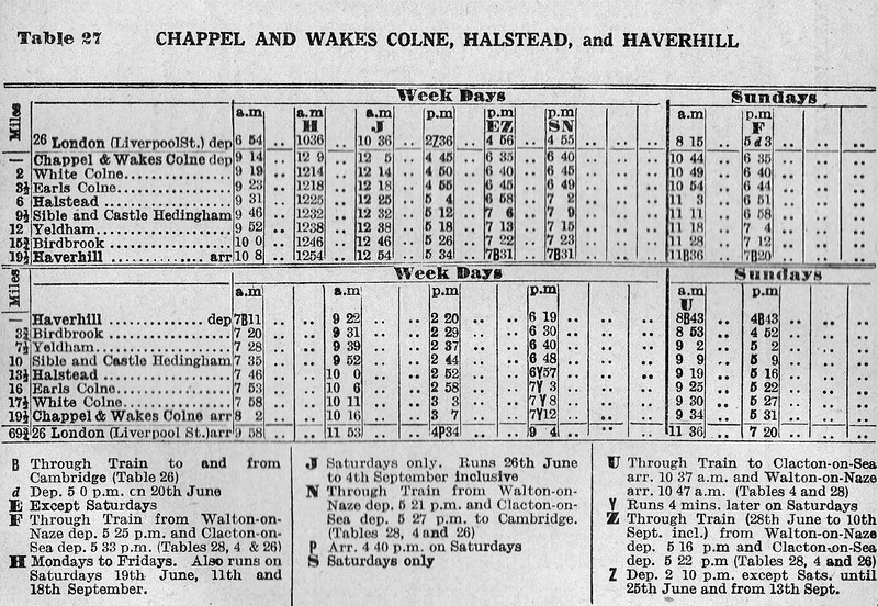 Summer 1954 Timetable. Colne Valley Line.  Chappel and Wakes Colne to Haverhill.