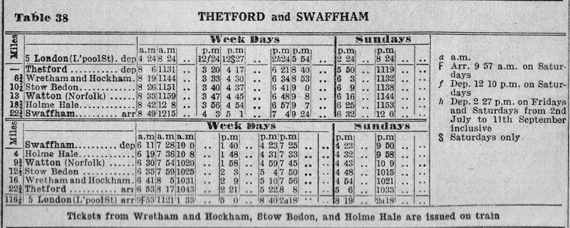 1954 Summer Timetable.  Thetford to Swaffham.