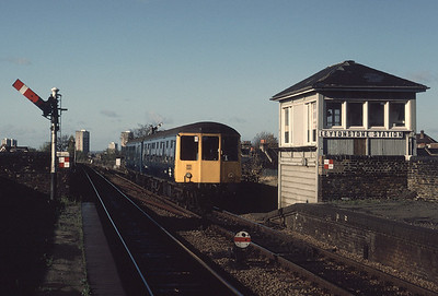 Scanned from a hideously underexposed slide, a Class 104 DMU at Leytonstone station November 1986