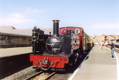 """The second train of the day is due away at 1245 and Davies and Metcalfe built No 9 """"Prince of Wales"""" stands in the midday sun at Aberystwith station.  We were to ride this train on the 12 mile run to Devil's Bridge."""