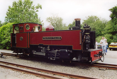 """After the long climb to Devil's Bridge, No9 is uncoupled and draws clear of the stock.  The crew have left the loco to have their break.  This loco was built in 1924 to the Davies and Metcalfe, of Stockport, 1902 design.  On being outshopped from Swindon it was said to be the heavily overhauled original loco """"Prince of Wales"""" which had in fact been quietly scrapped.  This fooled the GWR Board who had only authorised two new locos, No's 7 and 8, when Swindon had asked for three."""