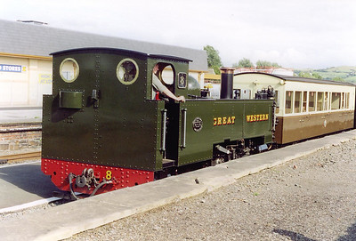 Back at Aberystwyth and No 8 is about to propel the train back towards the shed, its work for the day is now done.  The sun has come out again and bathes the scene in glorious sunshine. 1/8/2000