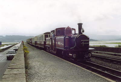 "Next day and Ross and I are back at Porthmadog in time to catch Double Fairlie ""David Lloyd George"" running in with the ecs of the first train of the day.  30/7/00"