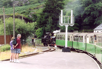On board the train back to Porthmadog, 1615 from Blaenau Ffestiniog, and Linda gets the train away from the station stop at Tanygrisiau.  The line climbs briefly here as it runs onto the 1969 Deviation built to take the line past the pump storage reservoir that flooded part of the line..
