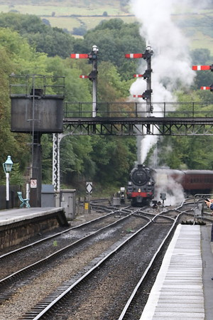 BR 2-6-0 Class 4MT 76079 sitting in the Grosmont carriage sidings