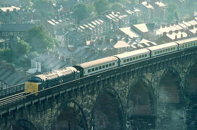 55017 entering Durham with Plymouth -  Edinburgh ( another regualr deltic turn from York) 20/10/81