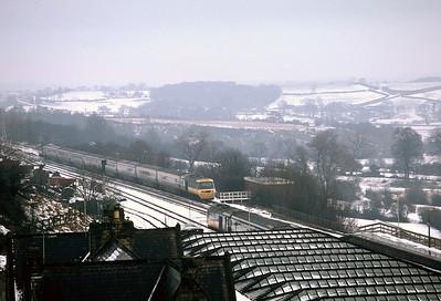 HSTs 43119 (north bound) 43118/43082 southbound at Durham 17/01/81