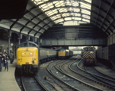 55011arriving Newcastle with 09.40 Edinburgh Plymouth, another regular Deltic turn. 46036 03078 waiting next their next jobs 7/2/81