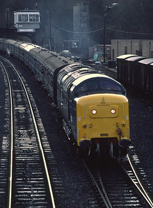 55009 at Hexham with one of the special trains run to mark the end of service of the Deltics 28/11/81
