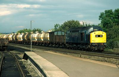 40195 passing Durham with Grangemouth-Haverton Hill ICI ammonia tanks 17/10/81