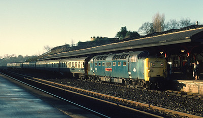 55006 arriving Durham with 1S12 0550 Kings X - Aberdeen, which was a regular Deltic turn 24/01/81