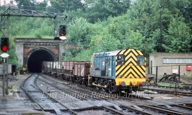 08393 leaves Stoke Tunnel Ipswich.  8th July 1980
