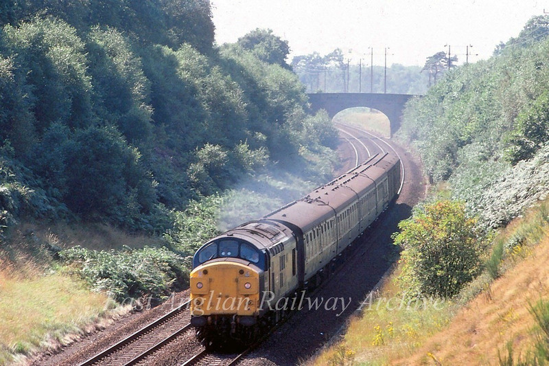 37023 descends Belstead Bank South of Ipswich with the 1240 Parkeston Quay to Peterborough. 1st September 1980