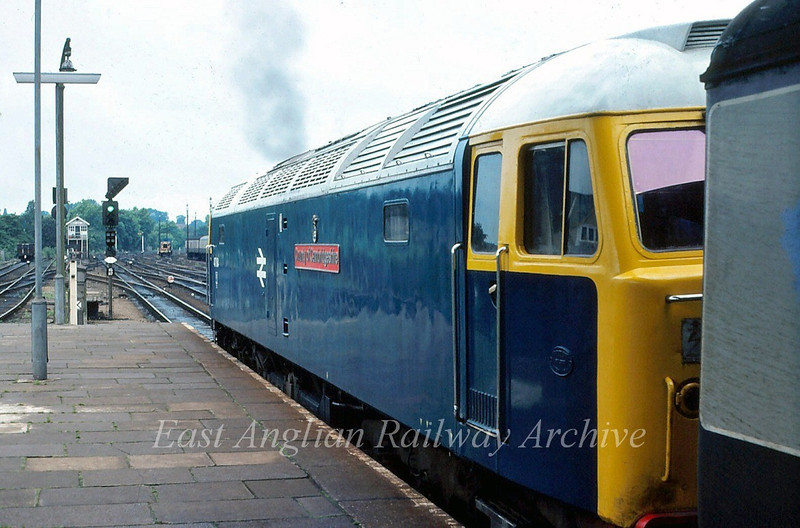 "47184 ""County of Cambridgeshire"" prepares to leave Ipswich with the 1730 Liverpool Street to Yarmouth.  8th July 1980"