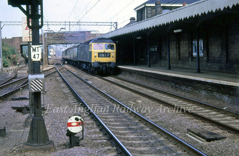 Unknown Class 47 passes Marks Tey on a Norwich to Liverpool Street working.  Photo Alistair Sandeman.