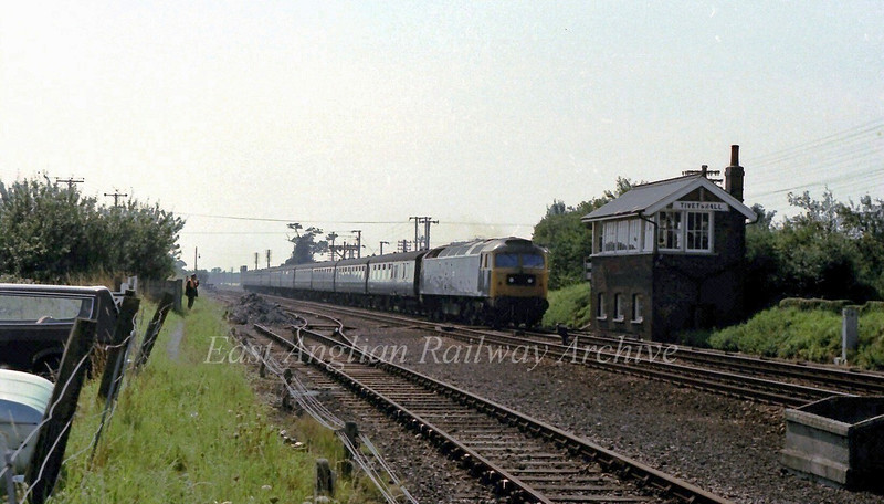 "47184 ""County of Cambridgeshire"" passes Tivetshall Box with the 1130 Liverpool Street to Norwich on 29th August 1979.  Tivetshall was the Junction station for the Waveney Valley Line to Beccles which diverged away to the left."