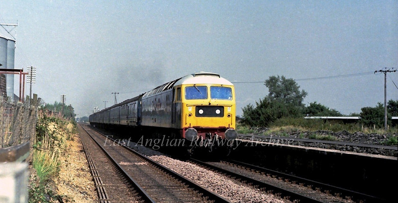 47184 County of Cambridgeshire races through the Norfolk countryside at Florden with the 1429 Norwich to Liverpool Street.The remains of the station up platform were still apparent on 29th August 1979.